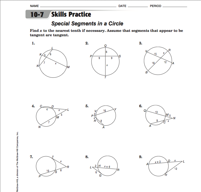 10 7 Practice Special Segments In A Circle Worksheet Answers