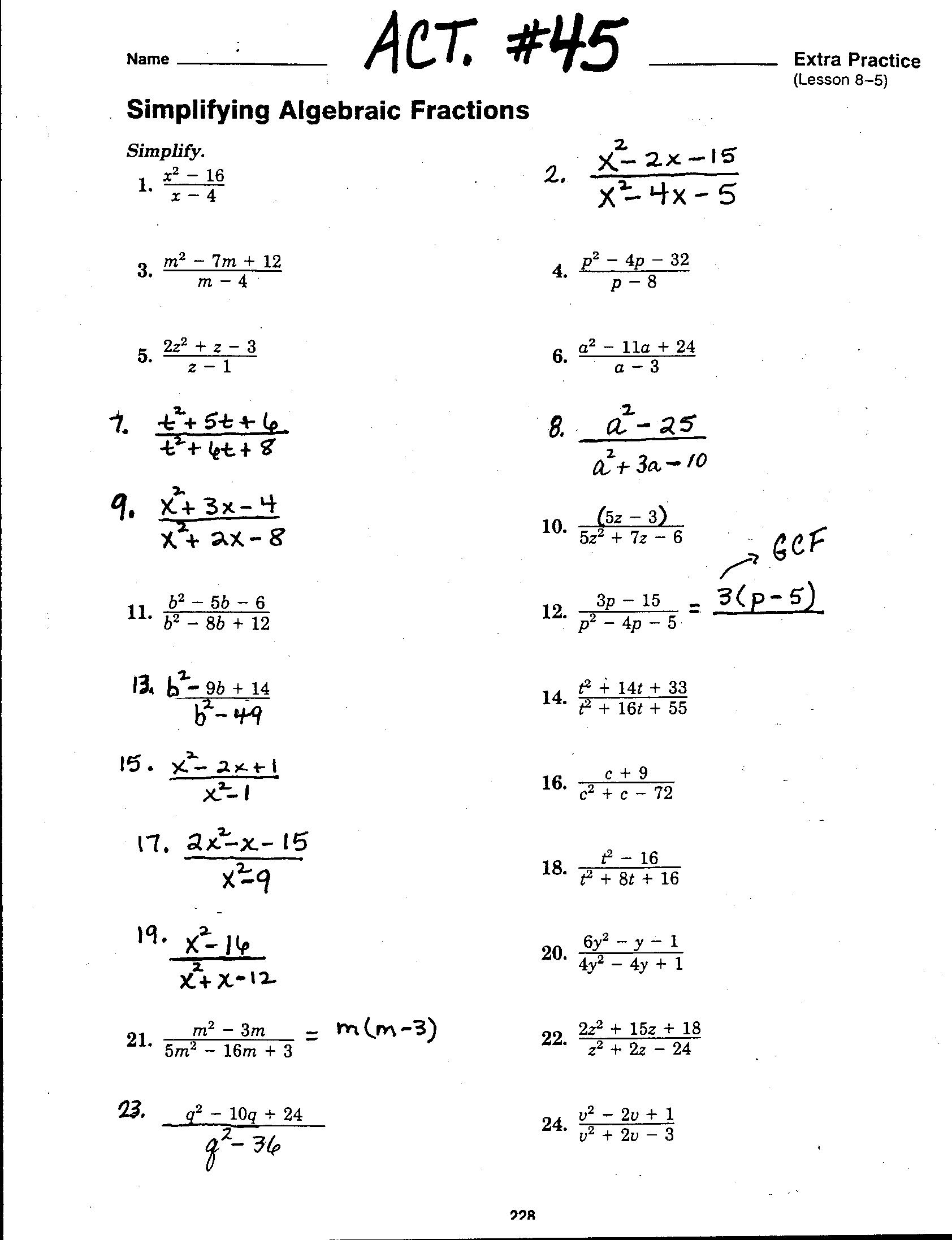worksheet Algebra 2 Simplifying Rational Expressions Worksheet math 3 lessons download file